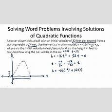 Quadratic Equation Applications ( Video )  Algebra  Ck12 Foundation