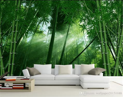 bamboo wind painted background wall mural 3d