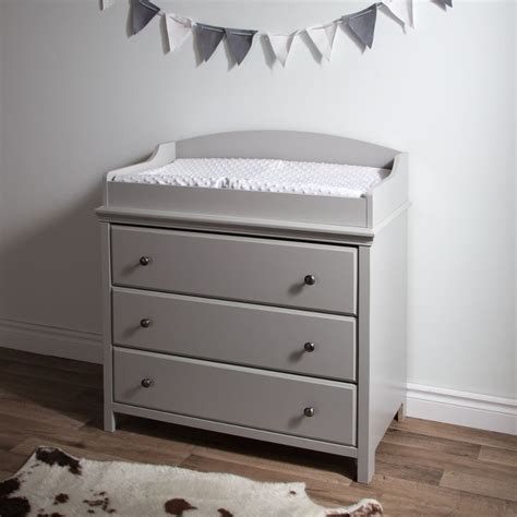 grey changing table with drawers cotton candy soft gray changing table