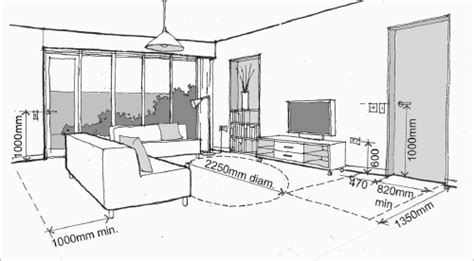 Living Room Standard Furniture Measurements by A Diagram Shows Appropriate Distances And Heights Of Items