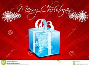 Merry Christmas Card With Gift Royalty Free Stock ...