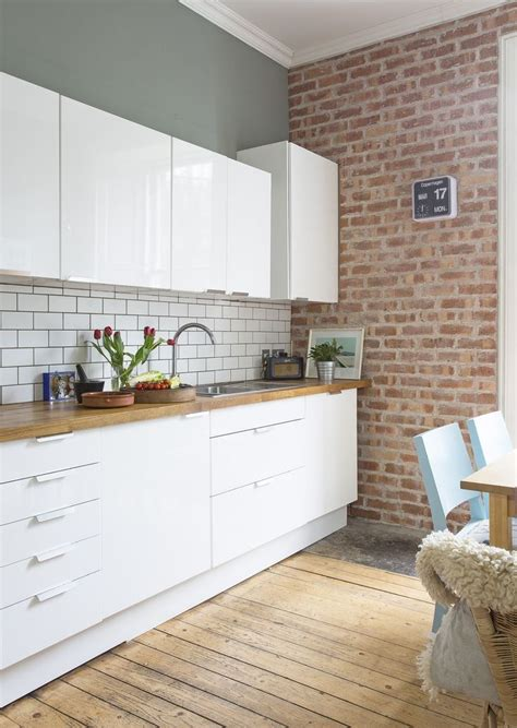 White Gloss Kitchen Units By Ikea, Brick Slip Wall Fired