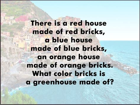 color riddles whatsapp riddle what color bricks is a greenhouse made of