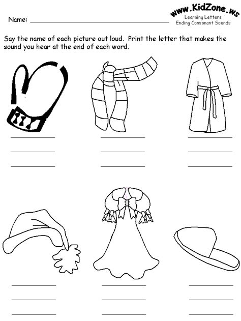 Ending Consonants Review Worksheets