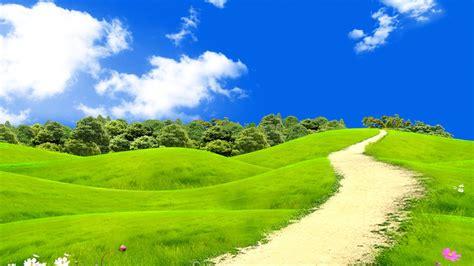 Anime Night Scenery Wallpaper Wallpaper Green Landscape Blue Sky Hd Nature 6267