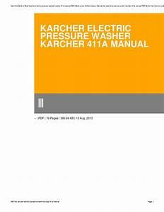 Karcher Electric Pressure Washer Karcher 411a Manual