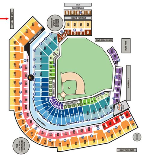 pittsburgh pirates seating chart pirates seat chart view pnc park