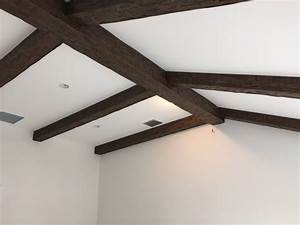 Ceiling Renovation Flat To Vaulted With Beams Faux Wood