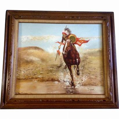 Signed Oil Painting Canvas Artist American Native