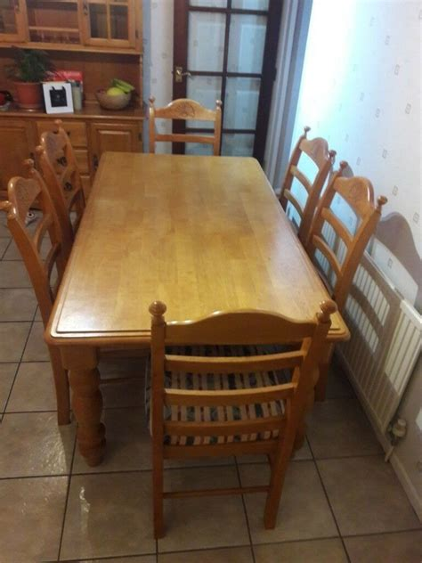 Kitchen Chairs Belfast by Solid Wood Kitchen Dining Table Plus 6 Chairs In