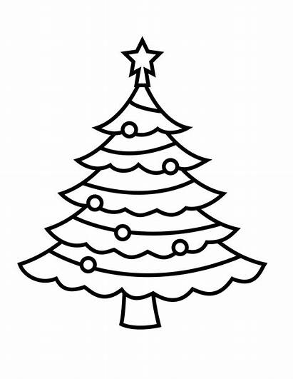 Coloring Tree Christmas Pages Simple