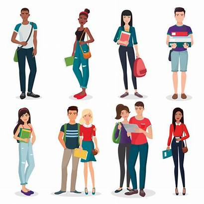 College Students Vector University Young Characters Cartoon