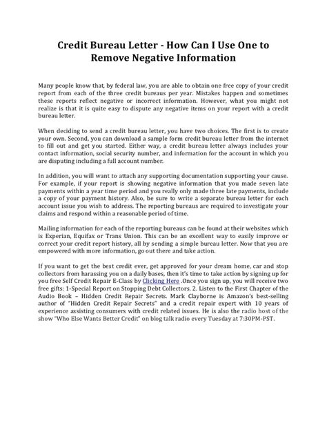 credit bureau letter       remove negative