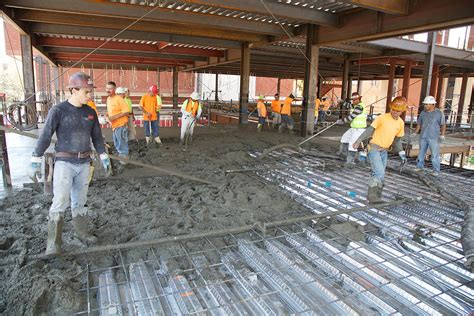 floor concrete pour building wallis annenberg hall