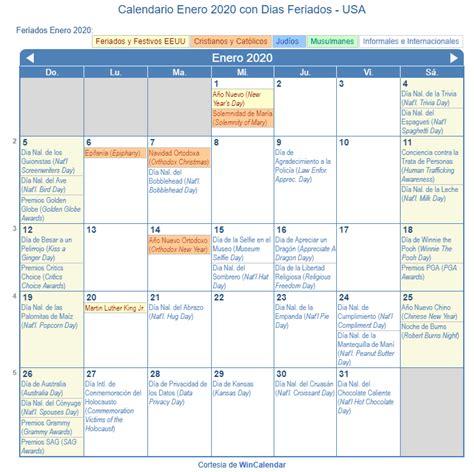 calendario enero imprimir estados unidos