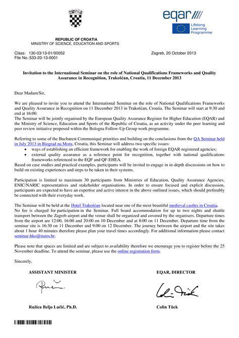 formal invitation letter sample  seminar templates