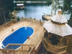 image of above ground swimming pools with decks photos