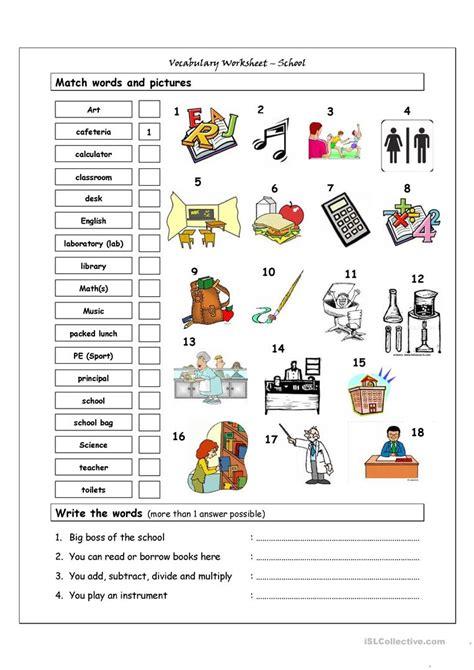 vocabulary matching worksheet school worksheet free