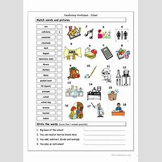 Vocabulary Matching Worksheet  School  English Esl Worksheets