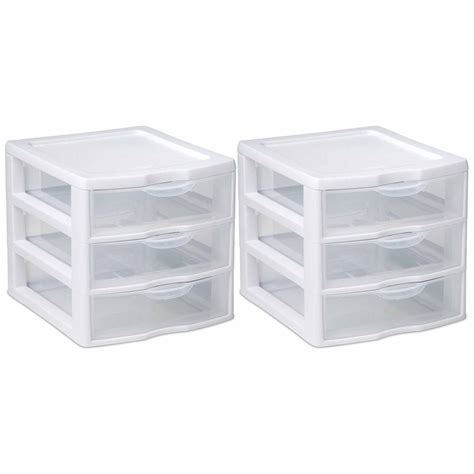 plastic storage drawers 2pc clear rack container sterilite