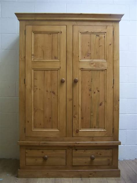 Solid Pine Wardrobe by Rustic Antique Style Solid Pine Wardrobe Handwaxed Ebay