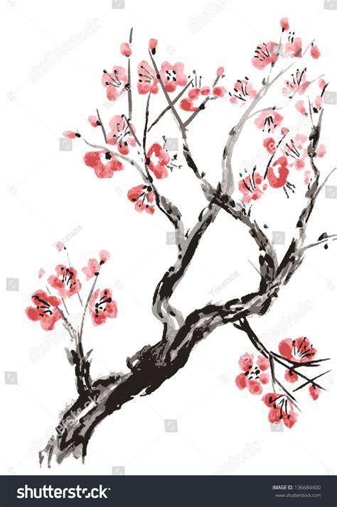 realistic sakura blossom japanese cherry tree stock vector