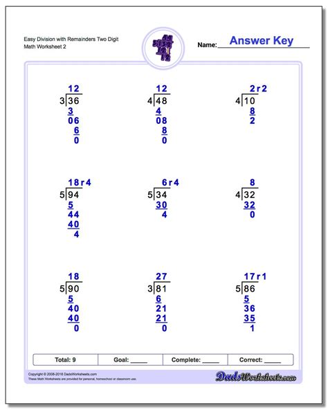 long division worksheets  digit   digit  remainders