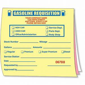 Gasoline Requisition Book  Gas Expense Forms  Gasoline