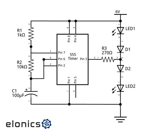 Dual Led Flasher Circuit Using Timer Elonics