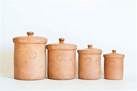 Vintage Italian Terracotta Kitchen Canisters Himark Italy