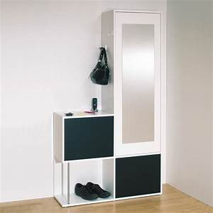 meuble d39entree contemporain blanc noir almera meuble d With meuble d entree contemporain