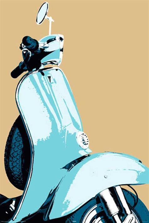 Vespa With Sky Blue Wallpaper by Vespa Posters Retro Scooter Vespa Poster 61x91 5