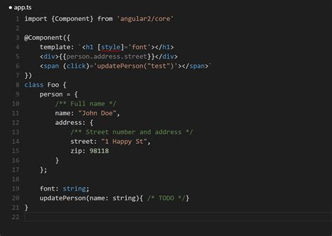 angular2 access template from ts angular2 with typescript rxjs in vs code