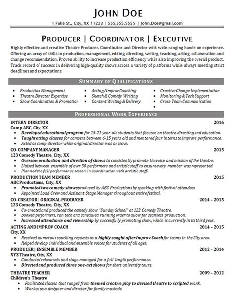 theater resume exle entertainment production