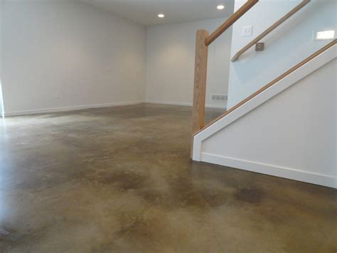 stained concrete floors kitchen industrial with industrial