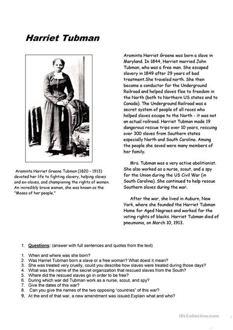 harriet tubman worksheet  esl printable worksheets