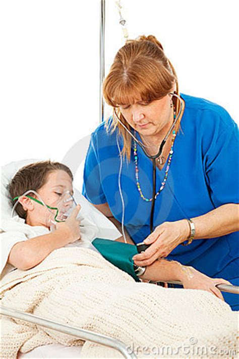 nurse caring  sick child royalty  stock photography