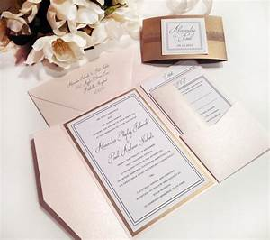 elegance blush and antique gold pocket folder style With pocket type wedding invitations