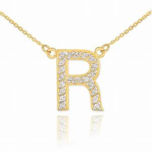 diamond letter r pendant necklace in 9ct gold gold boutique With diamond letter r necklace