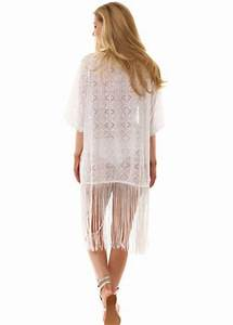 White Fringed Kimono | White Crochet Cover Up For The ...