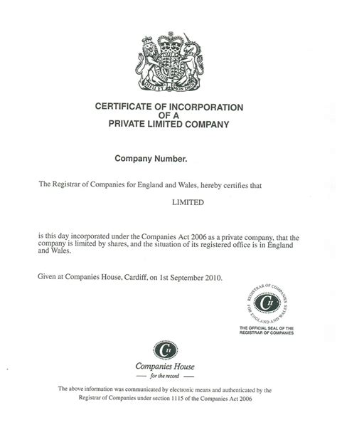 Company Certificate Template by Certificate Of Incorporation For Limited Companies