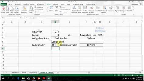 tutorial excel hoja 211 rdenes de trabajo