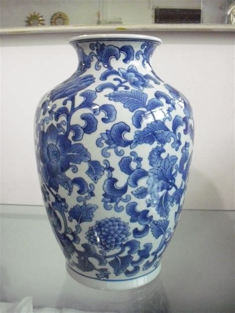 blue and white vase qian vase blue and white floral motif
