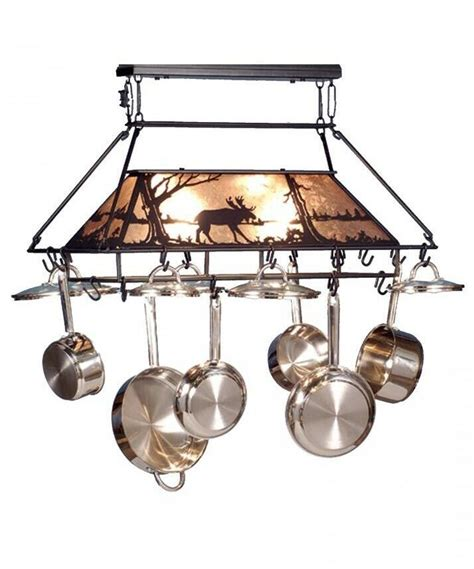 kitchen island with hanging pot rack forged iron kitchen island moose at lake hanging pot rack