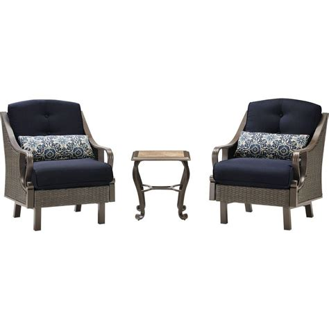 hanover ventura 3 all weather wicker patio chat set