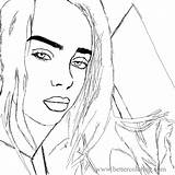 Billie Eilish Coloring Sketch Printable Colouring Artwork sketch template