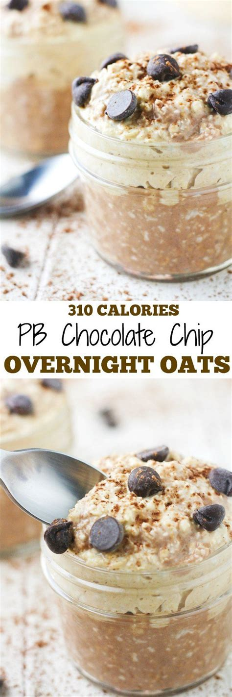Overnight oats are typically served chilled, straight. PB Chocolate Chip Overnight Oats | Recipe | Low calorie overnight oats, Low calorie chocolate ...