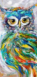 Owl painting in oil palette knife abstract impressionism on