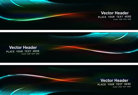 Abstract Black Bright Colorful Header Set Vector