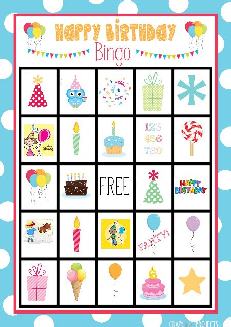cute  printable birthday bingo game crazy